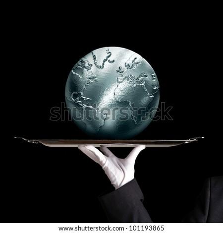 Silvery globe - stock photo