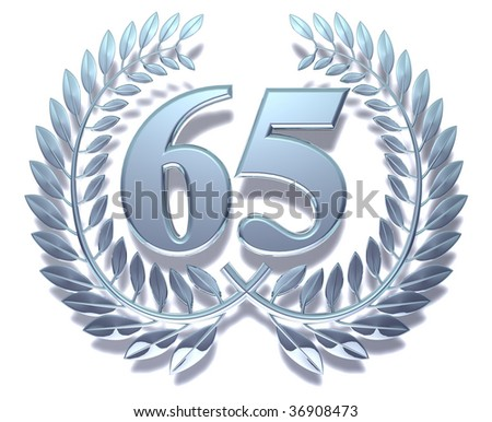 Silvery laurel wreath with number sixty-five inside
