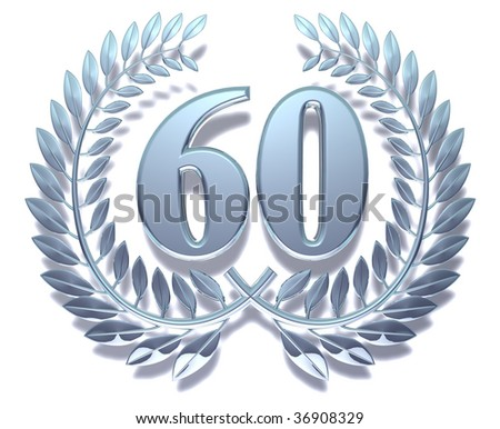 Silvery laurel wreath with number sixty inside