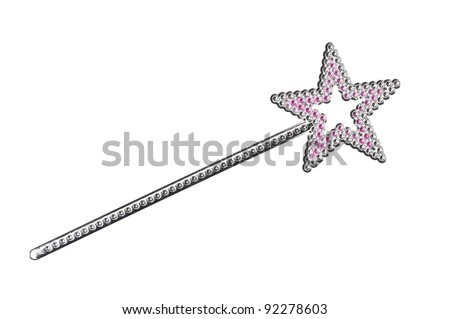 Silvery magic wand isolated on white background - stock photo