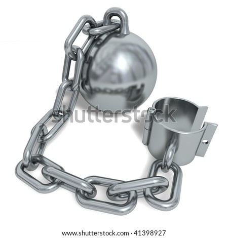 Silvery prisoner shackle isolated on a white background - stock photo
