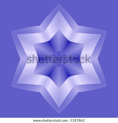 Silvery six pointed star on blue background. - stock photo