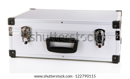 Silvery suitcase isolated on white
