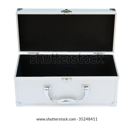 Silvery suitcase on the white background.  (isolated) - stock photo