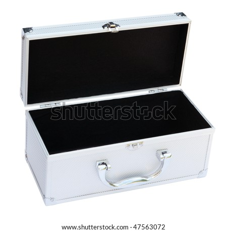 Silvery suitcase on the white background.  (isolated)