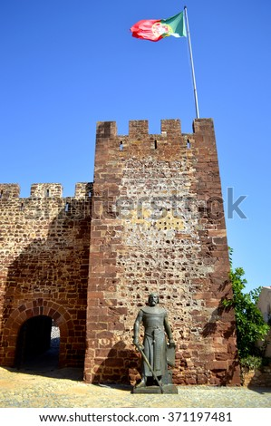 Silves, Algarve, Portugal - October 3, 2014 : Statue outside Silves historical castle in the Algarve, Portugal - stock photo
