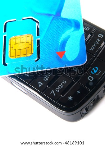 SIM card for mobile phone. Close up on white background - stock photo