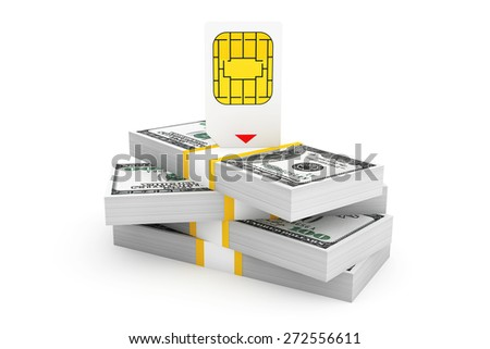 SIM Card for Mobile Phone over Stack of Dollar Bills on a white background