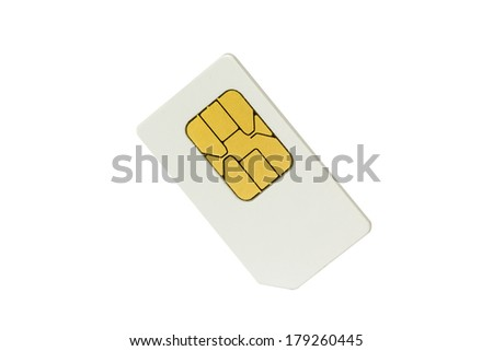 Sim card isolated on white - stock photo