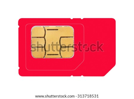 Sim card isolated on white background - stock photo