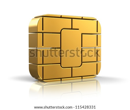 SIM card or credit card concept: golden card microchip isolated on white background with reflection effect - stock photo