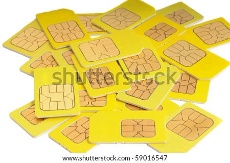 Sim cards isolated on white - stock photo