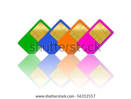 Sim cards  isolated over white background - stock photo