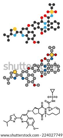 Simeprevir hepatitis C virus (HCV) drug molecule. Stylized 2D rendering and conventional skeletal formula. - stock photo