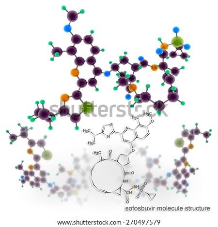 Simeprevir molecule structure. Three dimensional model render - stock photo