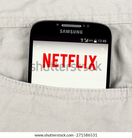 Simferopol, Russia - April 18, 2015: Photo of Netflix application on the Samsung galaxy display. Netflix is a provider of on-demand Internet streaming media. - stock photo