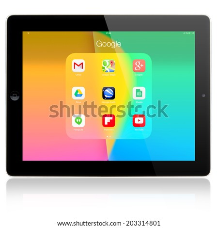 SIMFEROPOL, RUSSIA - JULY 05, 2014: Google+ applications on Apple iPad Air display. Google+ is business, social networking and identity services that is owned and operated by Google Inc. - stock photo