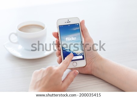 Simferopol, Russia - June 22, 2014: Flickr service designed for storage and later use by the user of digital photos and videos. - stock photo