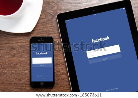 Simferopol, Russia - March 30, 2014: Facebook the largest social network in the world. It was founded in 2004 by Mark Zuckerberg and his roommates during training at the Harvard University. - stock photo