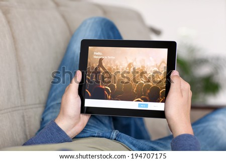 Simferopol, Russia - May 25, 2014: Twitter service of microblogging is created in 2006. Twitter service for a public exchange of short messages from 140 symbols. - stock photo