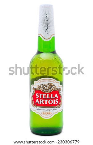 SIMFEROPOL, RUSSIA - NOVEMBER 13, 2014: Bottle of Stella Artois Beer on white background. Stella Artois informally called Stella, is a pilsner beer. It has been brewed in Leuven, Belgium - stock photo
