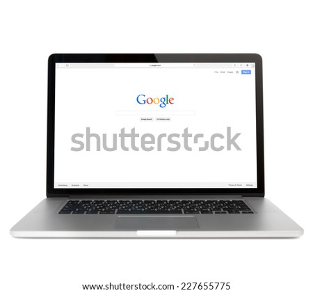 SIMFEROPOL, RUSSIA - NOVEMBER 01, 2014:  Google webpage on Macbook pro display. is an American multinational corporation specializing in Internet-related services and products - stock photo