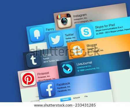 SIMFEROPOL, RUSSIA - NOVEMBER 26, 2014: Popular social networking applications on an Apple macbook display. Include: facebook, instagram, twitter, skype and other - stock photo