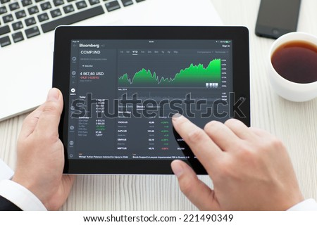 Simferopol, Russia - September 13, 2014: Bloomberg the leading supplier of financial information for professional participants of the financial markets. - stock photo