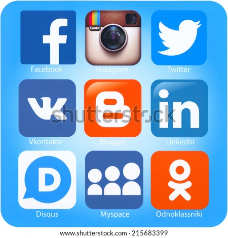SIMFEROPOL, RUSSIA - SEPTEMBER 06, 2014: Icons of most popular social networking applications printed on paper. - stock photo