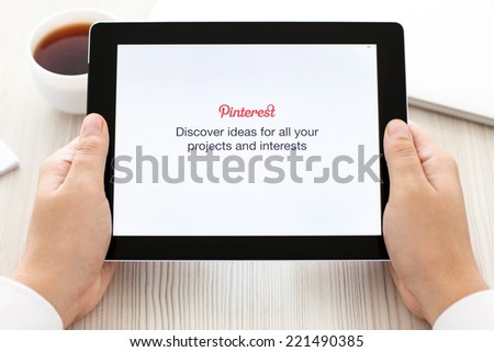 Simferopol, Russia - September 13, 2014: Pinterest the social Internet service, photo hosting allowing users to add images to thematic collections. - stock photo