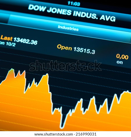 SIMFEROPOL, UKRAINE - OCTOBER 03, 2012: Most popular indexes futures on Apple iPad New display. included Dow Jones, NASDAQ and other brands - stock photo