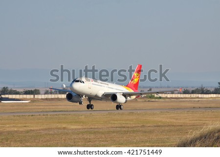Simferopol, Ukraine - September 12, 2010: Capital Airlines Airbus A319 is taking off from the airport