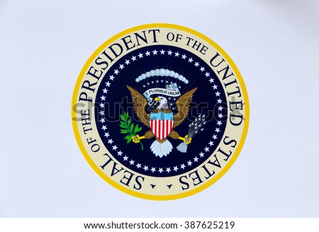 SIMI VALLEY, CA/USA - JANUARY 23, 2016:  Presidential Seal of the United States of America at Ronald Reagan Library