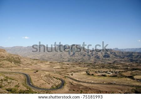 simien mountains landscape near lalibela ethiopia - stock photo