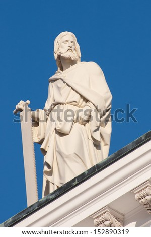 Simon the Apostle. One of the statues of the Twelve Apostles at the apexes and corners of the roof line of Helsinki Cathedral, Finland.