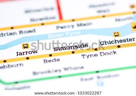 Simonside Station Newcastle Metro Map Stock Photo 1033022287