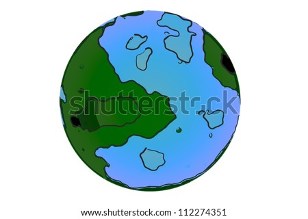Simple abstract earth globe in cartoon style