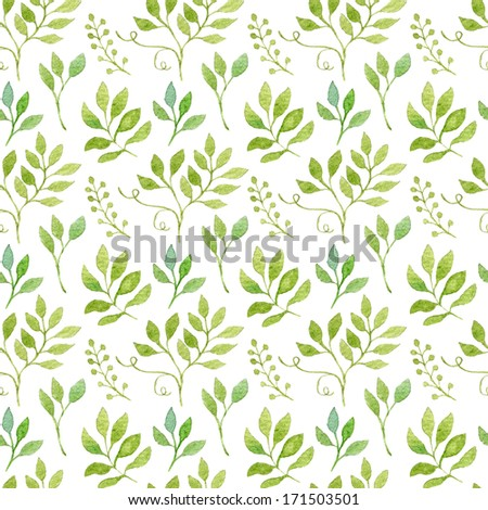 Simple and cute floral seamless pattern. Spring branches and leaves painted with watercolor.  - stock photo