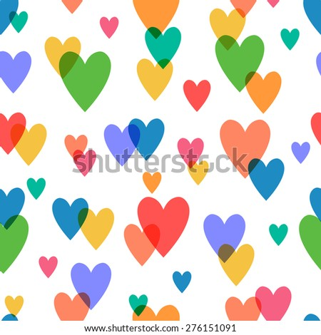 Simple and cute varicolored hearts seamless pattern. raster version illustration. - stock photo