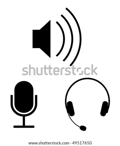 Simple audio, icons - stock photo