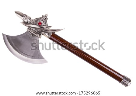 Simple axe disposed by diagonal isolated on white background.  - stock photo