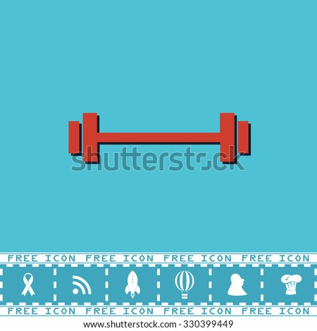 Simple Barbell. Red flat symbol with dark shadow and bonus icon. Simple illustration pictogram on blue background
