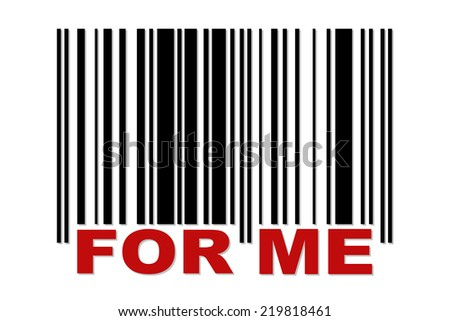 Simple barcode with red label FOR ME - stock photo