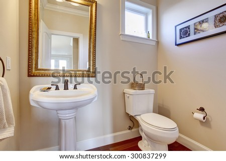 Simple Bathroom With White Walls, And Gold Framed Mirror.