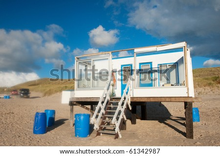 Simple Beach House Blue White Dutch Stock Photo Royalty Free