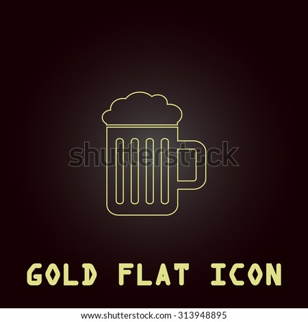 Simple Beer mug. Outline gold flat pictogram on dark background with simple text. Illustration trend icon