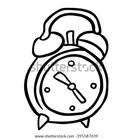 simple black and white alarm clock cartoon - stock photo