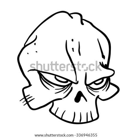 simple black and white skull cartoon - stock photo