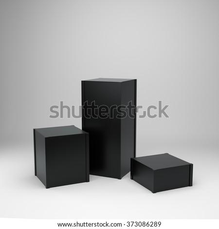 simple black box display - stock photo