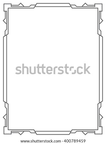 Simple black frame on a white background. vertical - stock photo